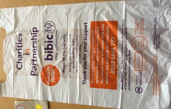 fraudulent charity bag bibic meningitis now